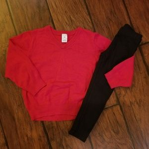 Carter's red sweater outfit